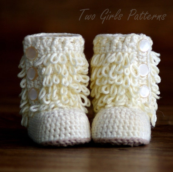 Crochet Pattern Baby Boot - Furrylicious loop boot  - Pattern number 200 Instant Download K