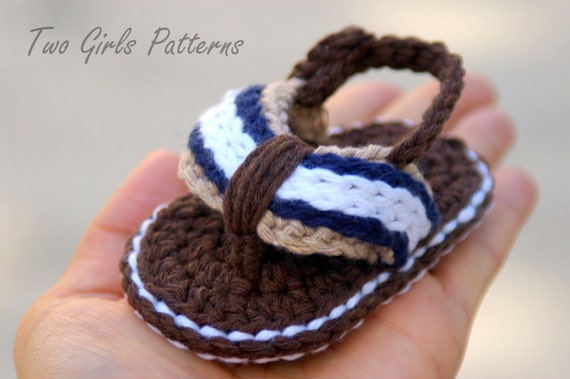 Baby Booties Crochet Pattern for Sporty Baby Flip Flop Sandals - Crochet Pattern number 116 - Instant Download