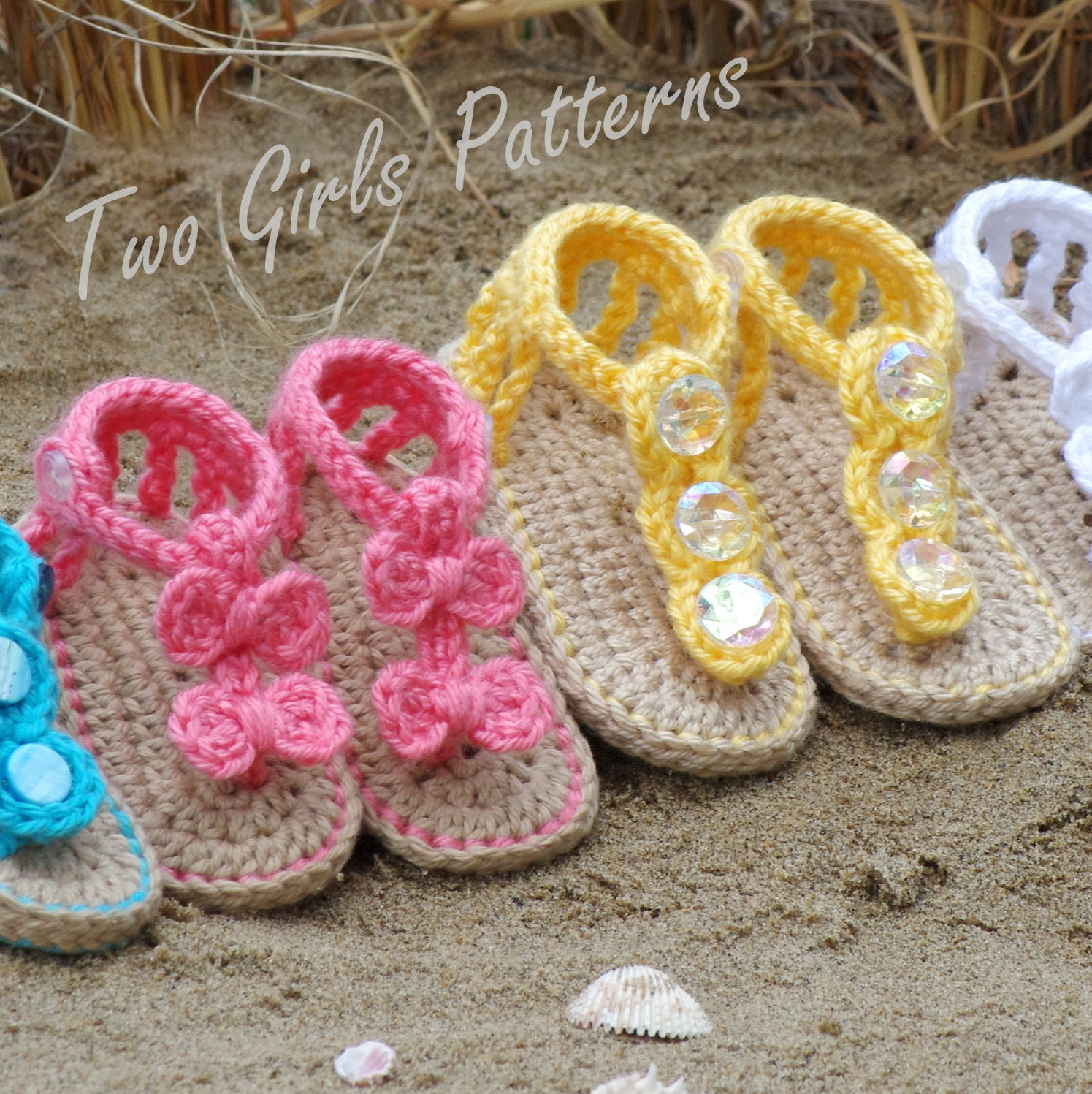 Crochet Pattern For Baby Barefoot Sandals : Baby crochet pattern sandal 2 Versions and Free barefoot