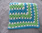 Crochet Baby Blanket in Limelight, Blue Mint and White