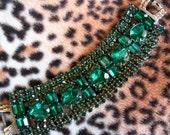 Vintage Green Rhinestone Bracelet Chunky Wide 1950's Rockabilly Retro Collectible Hollywood Regency Mad Men Mod Jewelry