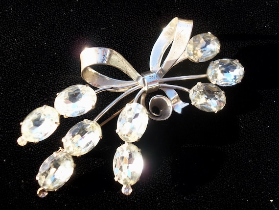 Coro Rhinestone Sterling Silver Brooch Big Bold Classy Vintage 1950's Designer Signed Old Hollywood Glam Jewelry