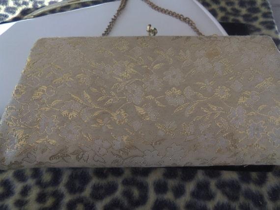 Vintage Elegant Gold Glittery Cloth Purse 1940's 1960's Old Hollywood Rockabilly Mod Clutch Handbag