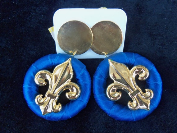 Reserved 5 Pairs, Blue, Red, Green Vintage Earrings Chunky Fleur de lis 1980's Paris Jewelry Satin Ribbon Wrapped Goldtone Metal