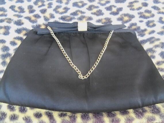 Vintage Black Clutch 1950s 1960s Signed Formal Evening Purse Handbag