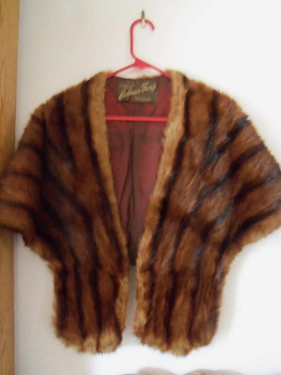 Beckman Real Fur Stole 1930s 1940s Collectible Accessorie Black Tie Formal Mad Men Mod