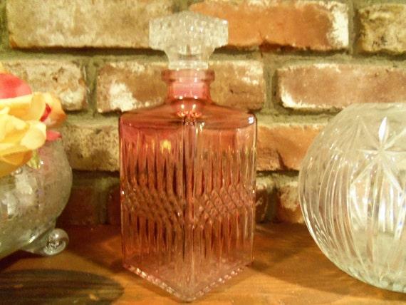 Vintage Liquor Decantor Collectible Retro Pink Bottle 1950's 1960's Barware Dinnerware Home Decor Mid Century Modern