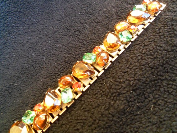 1950's Rhinestone Bracelet Multi Colored Orange Brown Green Stones Retro Chunky Collectible Mad Men Mod Rockabilly Jewelry