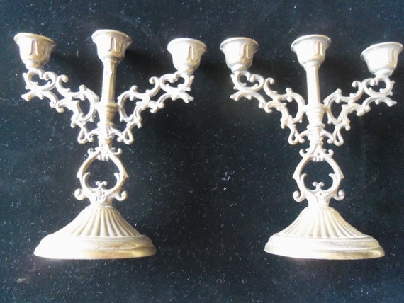 Vintage Candle Holders Set of Two Ornate Brass Home Decor Accessories Rustic Rockabilly Mid Century Modern