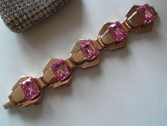 1940's Modernist Pink Rhinestone Chunky Bracelet Vintage Retro Hollywood Regency Mad Men Mod Collectible Jewelry