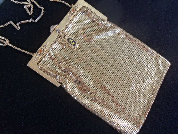 Vintage Whiting & Davis Gold Metal Mesh Formal Purse Hollywood Regency Handbag Mad Men Mod Art Deco Collectible Gold Glass Stone Clasp