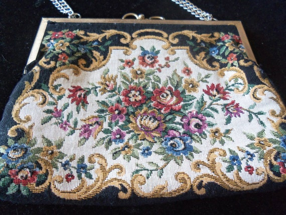 Vintage Flowered Purse Made in Hong Kong Clutch 1960's Retro Collectible Mad Men Mod by Debonair Tapestry