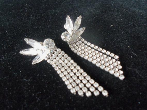 Vintage Rhinestone Earrings Long Dangly Mad Men Mod Rockabilly Black Tie Formal Jewelry