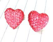hot pink heart earrings - pink heart earrings - pink heart jewelry - hot pink - pink heart studs - hot pink earrings - heart earrings - pin