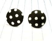 black polka dot earrings - black and white - black earrings - black studs - black jewelry - polka dot earrings - polka dot studs - fabric