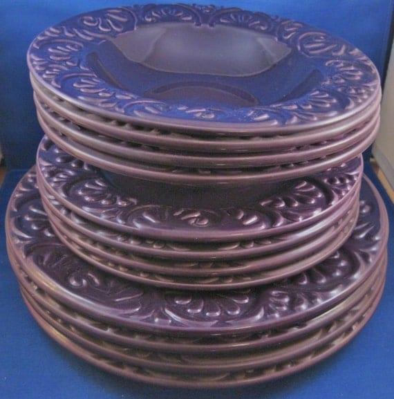 Items Similar To 12 Piece Purple Dinnerware Set Made In