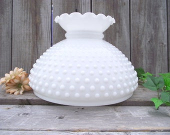 """XLg Antique MILK GLASS Fenton Hobnail Parlor Lamp SHADE - for 10"""" fitter - Replacement Globe Light Lampshade #2"""