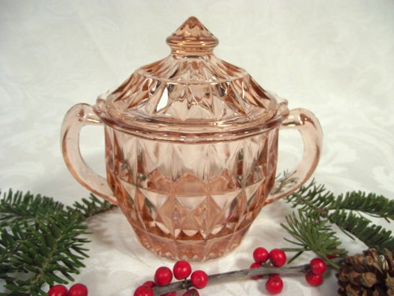 Pink Depression Glass Sugar Bowl And Lid Windsor