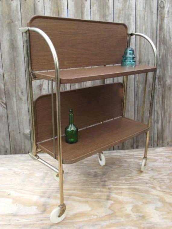 Retro Metal Serving Tea Cart 2 Shelves Fold N Roll Versa Table