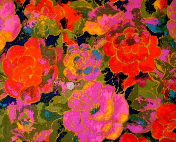 Vintage Barkcloth Fabric 60s Flower Power Bold Amp Bright