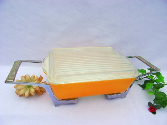 Orange Pyrex Casserole Dish & Server - Refrigerator Dish with Cover and ADJUSTABLE Cradle/Carrier/Caddie/Holder - RARE