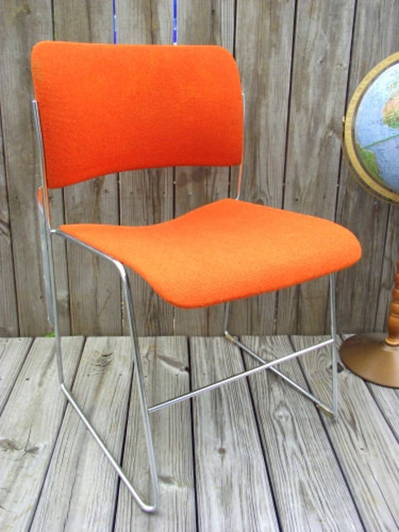Reserved for Nuria 40/4 DAVID ROWLAND CHAIR 1977 Orange Upholstered Fabric - All Original