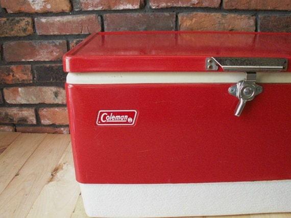 vintage 1977 red coleman metal cooler ice chest metal