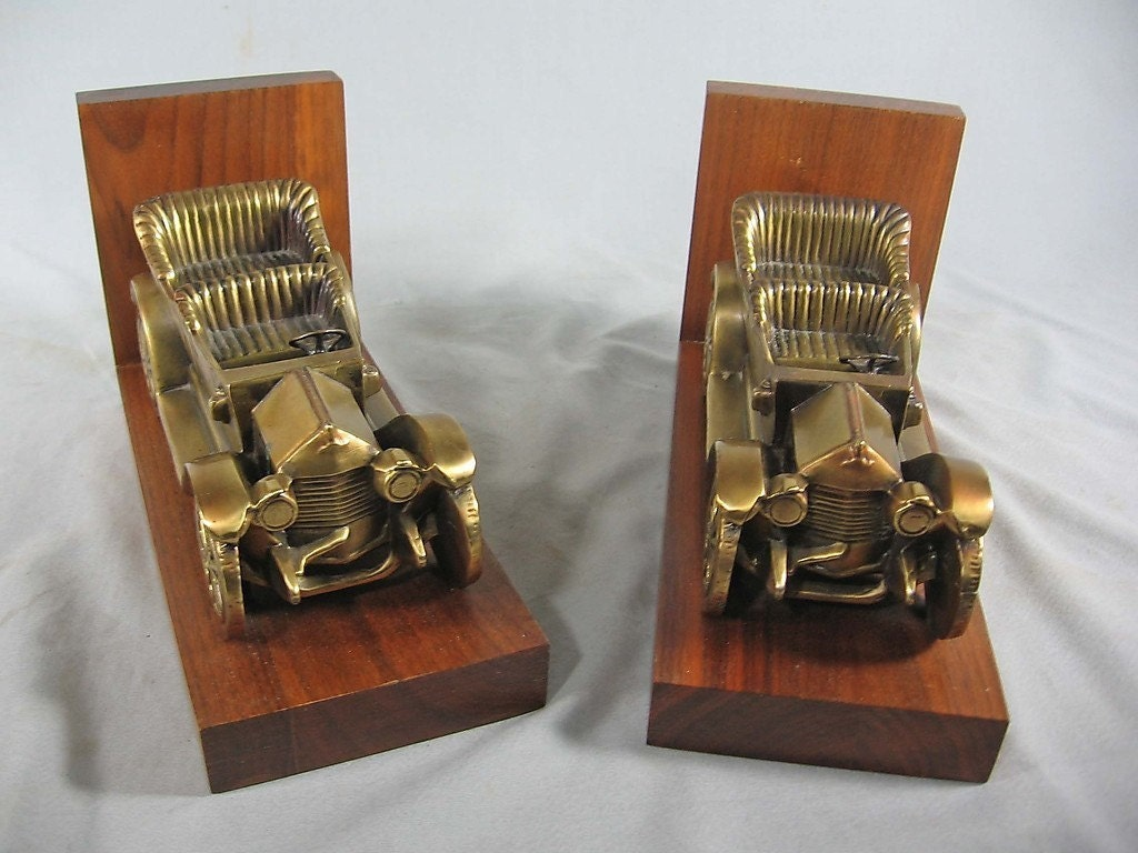Antique Car Brass Bookends Chevrolet Series C 1911 Classic Six