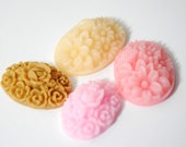 Neapolitan Color Mix Pretty Plastic Floral Cameo Cabochons