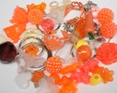 Fun Detash Mixed Lot of Beads Cabochons Charms and Other Findings OUTRAGEOUS ORANGES