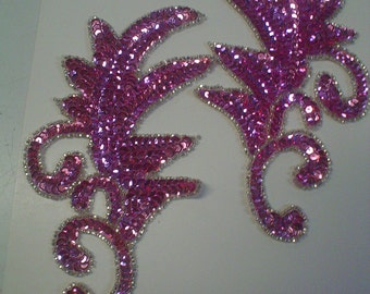 Orchid Sequin and Bead Plume Appliques