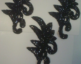 Black Sequin and Bead Plume Appliques