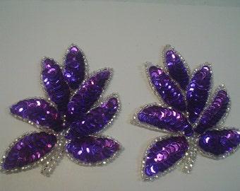 Purple Sequin and Bead Leaf Applique