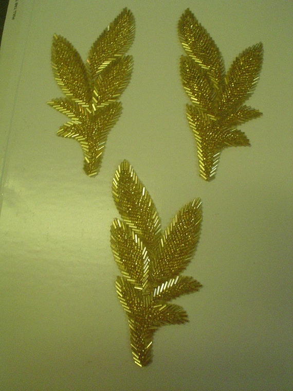 Gold Beaded Leaf Applique 3 Pieces