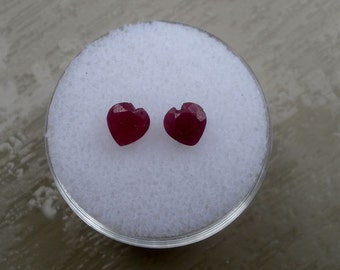 Red Ruby Heart Shape Natural Gem Pair 5mm Each