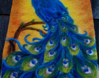 Hand Felted Peacock Tapestry