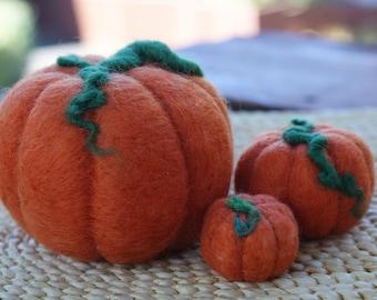 Set of 3 hand felted harvest pumpkins.