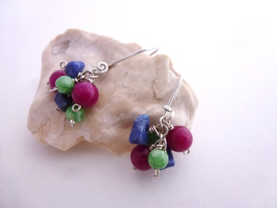Colorful summer sterling silver earrings fuchsia-blue-green