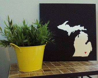 "Michigan Love Painting - 12x12"" canvas - Customized and hand painted"