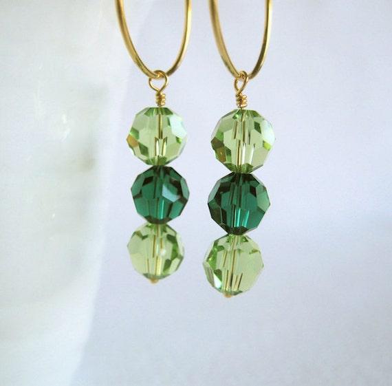Peridot and emerald earrings Grass green Swarovski Light green Vermeil Gold-plated sterling earrings SALE 20% OFF