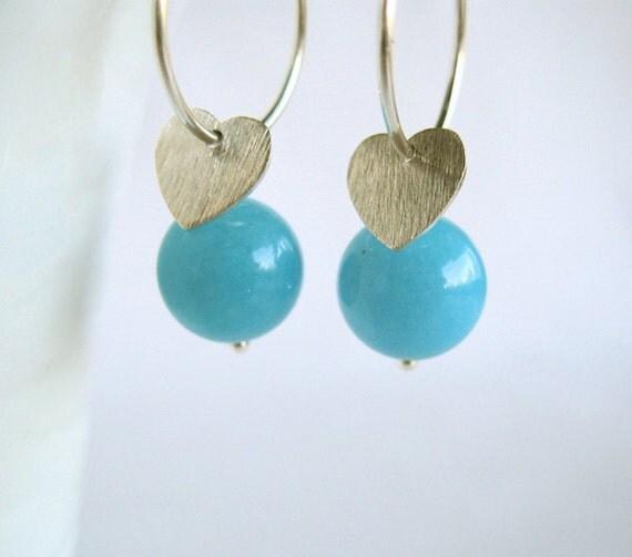 Blue earrings with hearts - Light blue - Aqua - Sky blue - Blue candy jade - Sterling silver earrings