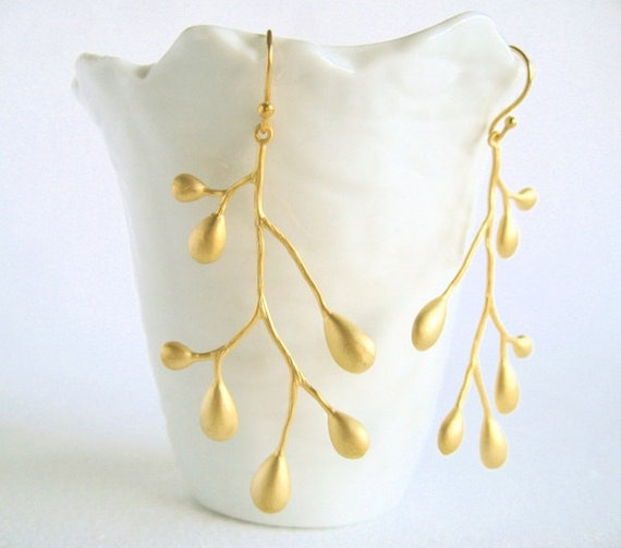 Matte gold tree branch earrings - Tree - Branch - Gold-plated sterling silver earwires