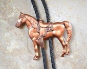 Western Bolo Tie - Leather Cowboy Jewelry - Copper Horse Pendant