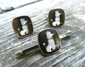 Poodle Cufflinks and Tie Bar Set - Dog Jewelry - 50s Poodle