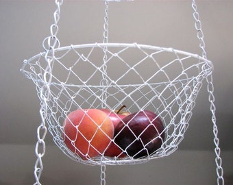 3 Tier Wire Hanging Basket - Vintage Hanging Basket - Fruit Basket - Kitchen Basket