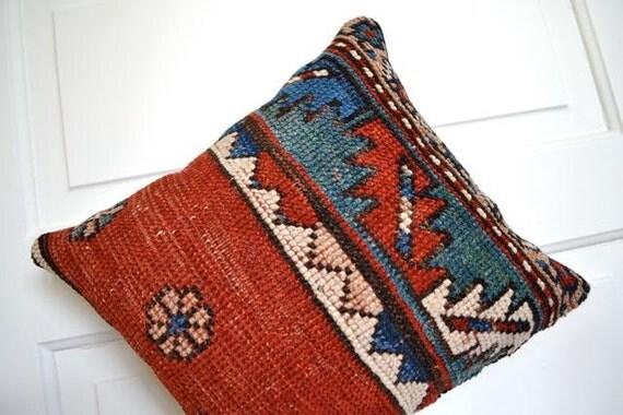 Kazak Kilim Pillow  - Kilim Cushion - Kilim Rug Pillow - Carpet Pillow - Stuffed