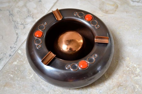 Vintage Copper Ashtray - Mid Century - Atomic Style - Retro Home Decor