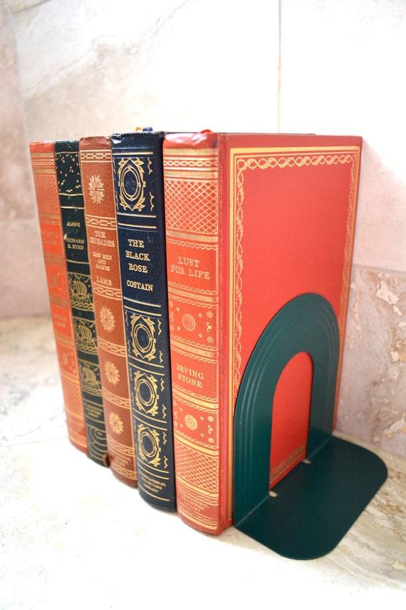 Art Deco Bookends - Industrial Metal Bookends - Vintage Home Decor - Machine Age - Eames Era