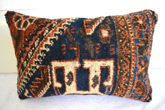 Persian Rug Pillow Kilim Pillow Oriental by GreySquirrelAntiques
