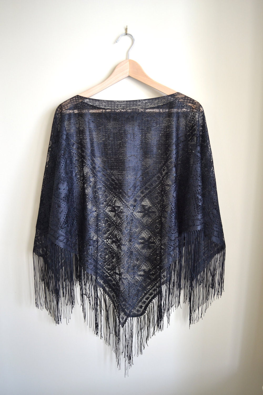 Knitting Pattern For Lace Poncho : Black Lace Poncho Knit Shawl Black Cape Fringed